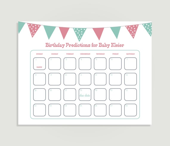 Calendar Shower Ideas : Baby birthday prediction calendar q theme