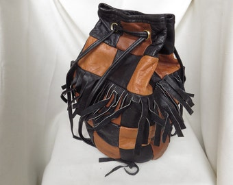 MYSTERY BRAND Brown and Black Patchwork Leather Bucket Bag