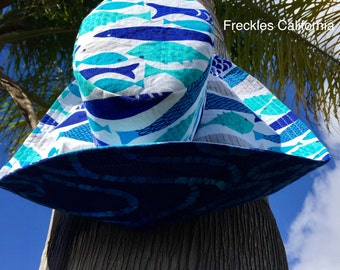 Boating Sun Hat, Vacation Travel Sunhat, Fishing Sun Hat, Blue Hat, Luau Hawaiian Trip Hat, Gift for Her Pool Sun Hat by Freckles California