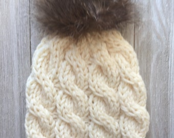 Chunky Knitted Cable Hat With Faux Fur Pom Pom - Chunky Knitted Hat - Faux Pom Pom - Knitted Cable Hats - Women's Knitted Hats