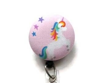 Unicorn Retractable Badge Reel/Nurse Badge Reel/Retractable Badge Holder/Id Badge Holder/Badge Pull/Swivel Badge Reel/Name Badge Clip/Pink