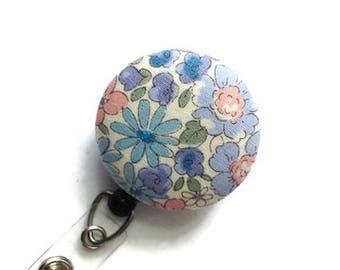 Flower Badge Reel/Retractable Badge Holder/ID Badge Holder/Nurse Gift/Key Card Holder/Teacher Gift/Badge Clip/Cream Purple Blue Coral Floral