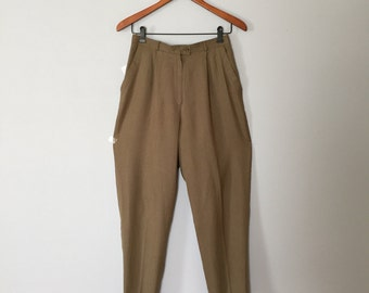 Vntage olive drab cuffed buggy pants. high waisted linen pants