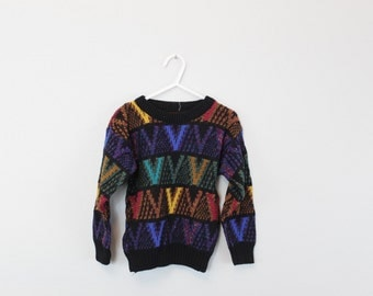 Vintage 80s knit Sweater V Sweater