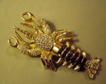 Vintage Lg Rhinestone Lobster Pin Clear Green Black Rhinestones  8888
