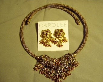 Vintage Bollywood Wedding Set Beaded Rhinestone Ornate Necklace & Pierced Earrings 9161
