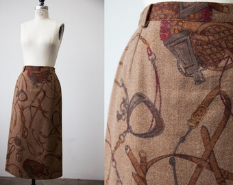Vtg Wool EQUESTRIAN Novelty Print High Waist Midi Skirt Buckles Ropes Whips Brown XS-S