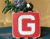 g is for goat block ornament