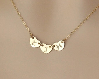 Initial Heart Charm Necklace, Personalized Romantic Jewelry, Wife Girlfriend Gift, Silver, Yellow Gold or Rose Gold