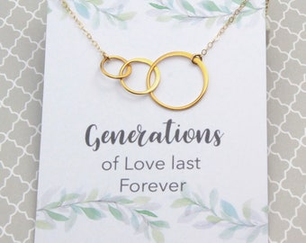 Generational Love, Gold Tree Link Necklace, Wedding Gift for Grandmother, Birthday Gift for Grandmother, Interlocking Hoops, Family Jewelry