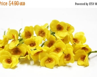 Miniature Polymer Clay Flowers Supplies Shining Yellow Pansy with Leaves 6 stems