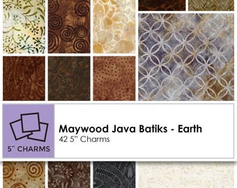 """Cotton Quilt Charm Pack  """"Java Batiks"""" from Maywood Studios (42) Precut 5 Inch Squares"""