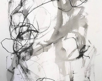 Sumi Ink Abstract Expressionist Painting - 22 x 30