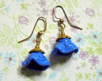 Bluebell Lampwork Flower Earrings (3283)