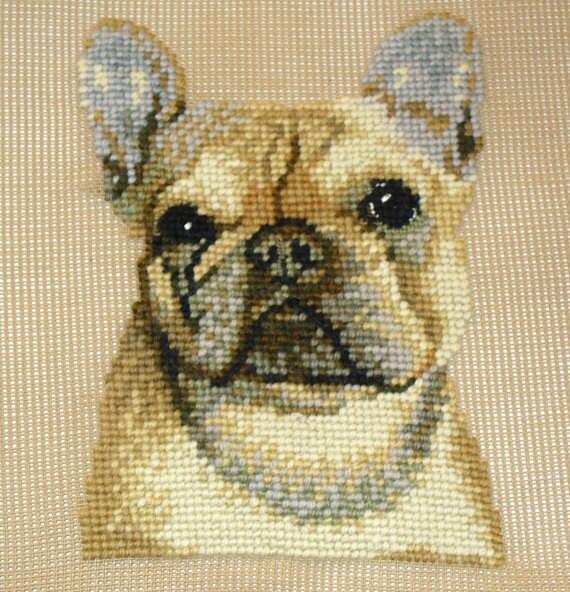 French Bulldog Needlepoint Kit Presewn Frenchie Needlepoint