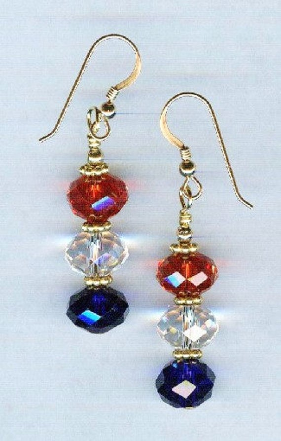 Patriotic Red White & Blue Faceted Medium Crystal Bead Earrings