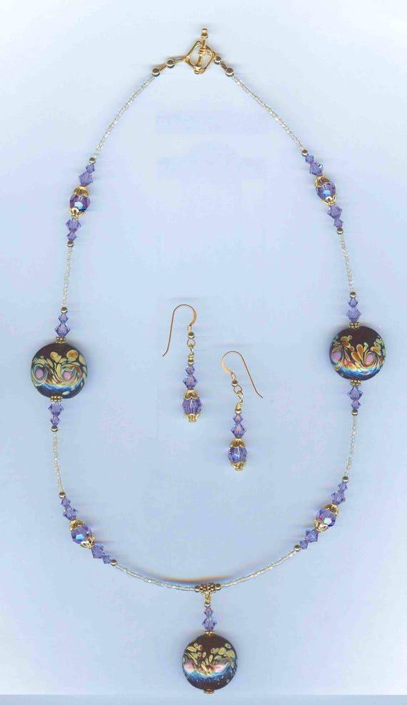 "Beautiful ""Van Gogh"" Handmade Lampwork & Swarovski Tanzanite Faceted Crystal Necklace SET!"