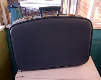 Vintage Medium Sized Blue Trojan Suitcase Great size for Stacking Storage and Display or Going to Grandma's Weekend Getaway
