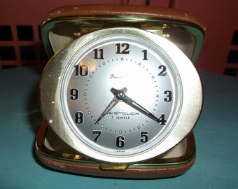 Vintage Westclox 7 Jewel Travel Alarm Clock Travel Ben very pretty working fine Wind Up