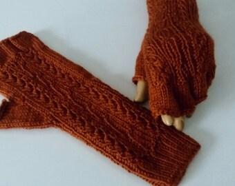 Terra-cotta Half Finger-Knitting Fingerless Gloves
