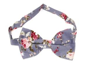 Men's Slate Blue Floral Flowers Pre-Tied Bow Tie