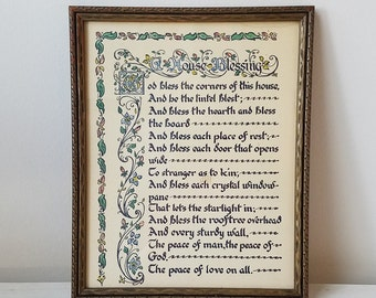 Vintage A House Blessing Religious Wall Art Print in Wood Frame, Pen & Ink Calligraphy