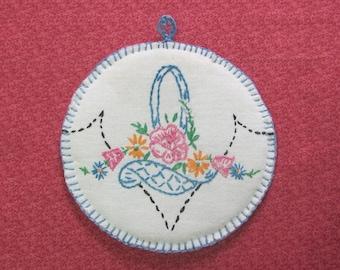 Vintage Hand Embroidered Blue Floral Basket Hot Pad Pot Holder Kitchen Helper
