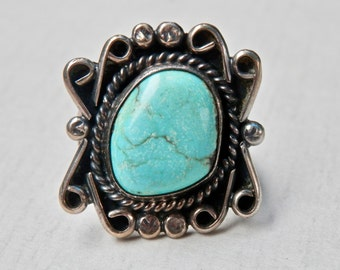 Vintage Navajo Ring Turquoise Sterling Silver Size 5 Ring Southwestern Vintage Jewelry Native American Blue Turquoise Handmade Ring