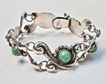 Mexican Bracelet Sterling Silver Green Onyx Margot de Taxco Style Vintage Modernist Taxco Mexico Jewelry