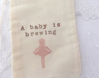 A Baby is Brewing Favor Bags Ballerina Tea Party Favor Bags Set of 10