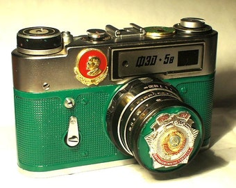 Green Vintage FED-5B Russian camera -=USSR - 50 years=-