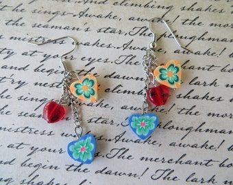 Blue And Orange Hearts Dangling Bead Earrings
