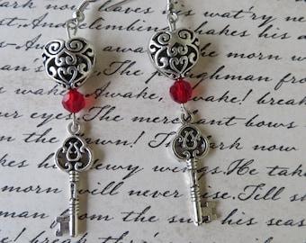Silver Hearts And Keys Dangling Earrings