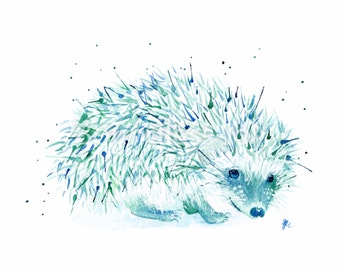 Watercolor Hedgehog Art Print, Blue, Green, Wall Decor, Animal Wall Art