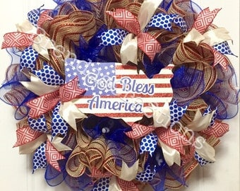 USA Fourth of July Front Door Wreath, American Flag Memorial Day, God Bless America, Hostess Gift for Military Veteran, Support Our Troops