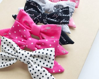 Valentines Day Hair Bows, Fabric Hair Bows, Hair Accessories, Baby Hair Bows, Hair Clips, Pink Bows, Polka Dots bows