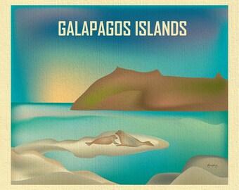 SALE Galapagos Islands art, Galapagos Islands wall art, Latin American Print, Galapagos Islands poster style - E11-O-GAL