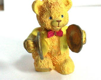 Musical Bear Figurine - Cymbal Player in yellow tuxedo - 1990s