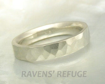 18k white gold hand forged hammered band / wedding ring, satin finish, comfort fit, granite