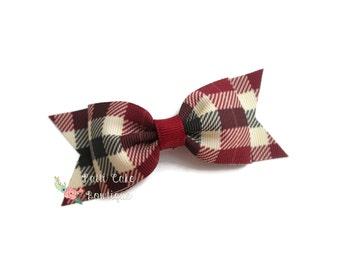 Burgundy Tartan Plaid Hair Bow/Baby Girl Hair Bow/Hairbows/Barrette/Hair Clips with Bows/Girls Hair Bows/Baby Hair Bows/Toddler Hair Bows