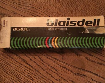 Vintage Blaisdell Berol Thin Black China Markers Paper Wrapped
