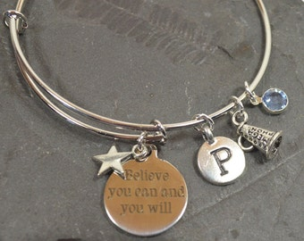 """Cheer Bracelet - Personalized Birthstone """"Believe"""" Cheerleading Bracelet - Expandable Silver Bangle Bracelet With 5 Charms (B-003)"""