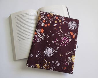 Fall floral fabric, paperback  book cover, book sleeve, book protector, book sleeve