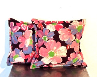 vintage floral throw pillows - 1960s mid century velvet floral throw pillows set of 2