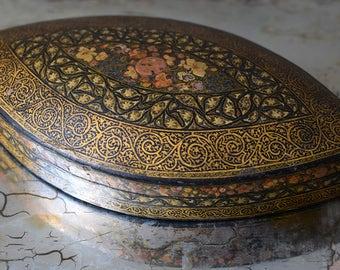 Vintage Kashmir Paper Mache Box Hand Painted India