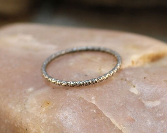 Simple 1mm Round Thin Textured Sterling Silver Band