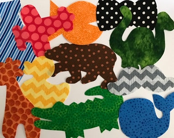 11 Iron On Baby Boy Fabric Applique Assortment..Whale/Giraffe/Dinosaur/Duck/BowTie..Great For Baby Shower Onesie Making Party/Quilts/Onesies