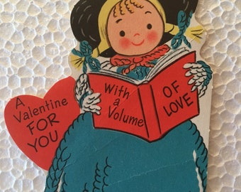 Vintage Valentine Little Choir Girl Sweet 1960's  or Earlier Retro