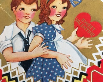 Vintage Valentine Card Girl an Boy Sweet 1950's or Earlier Retro