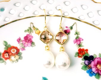 Peach and pearl dangle earrings Pearl drop earrings Bridal pearl teardrop earrings Champagne an pearl Pearl earrings Bridesmaid earrings